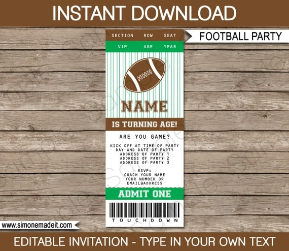 Football Ticket Invitation Template Birthday Party Tailgate