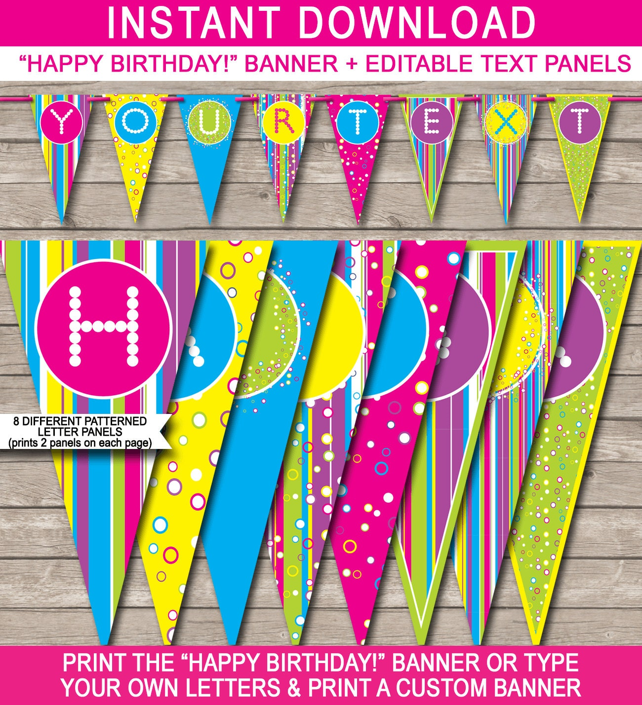 Girls Birthday Banner Colorful Happy Birthday Banner