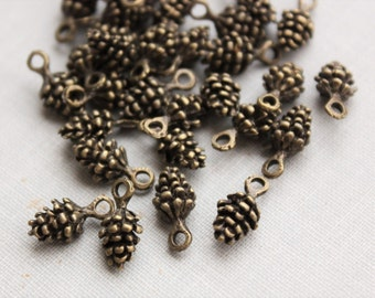 Small Pinecone Charms - Antique Bronze - 10pcs