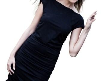 jersey dress, ruched dress, wiggle dress, pencil dress, black dress