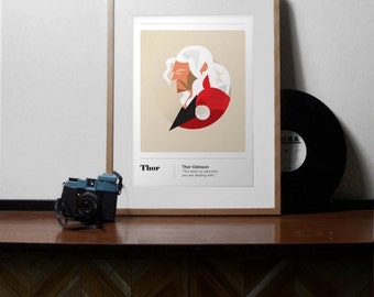 Marvel Comics Inspired Thor Print, A4, Minimal Thor Gifts, Thor Odinson, Comic Art, Superhero prints, superhero wall art, minimal print