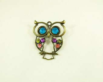 Bronze Brooch Pin Or Lapel Pin,  Colorful Owl With Rhinestones  Womens gift  Handmade