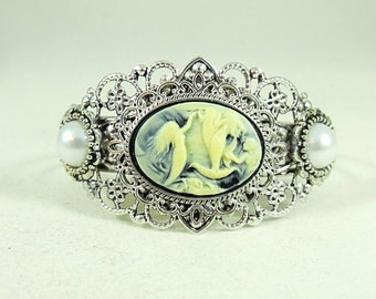 Silver Cameo Cuff Bracelet, Mermaid Cameo With Pearls  Womens Gift Handmade