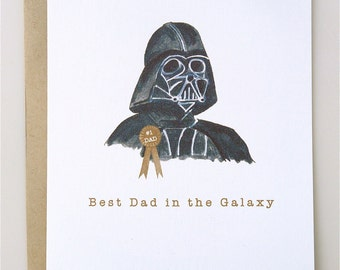 Father's Day Card Darth Vader - funny fathers day - star wars - handmade - card - paper - humor