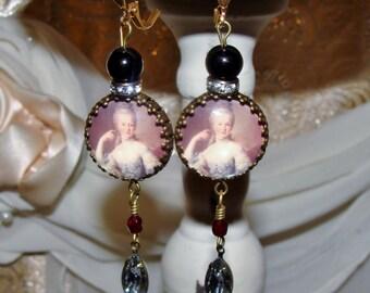 Marie Antoinette image bead art print earrings Pamelia Designs