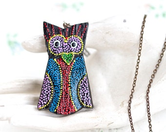 Folk Art Owl Necklace - Vintage Large Pendant on Chain - Hand painted Colorful Polka Dot