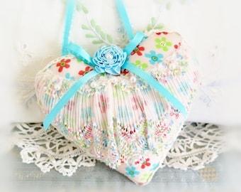 Sachet Heart Ornament 5 Inch Heart, Pink Teal Green Coral with 6 Pearl Beads Folk Art, Handmade CharlotteStyle Decorative Folk Art