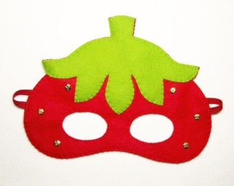 Strawberry felt mask Red Green for girl kids birthday adult soft party favor photo props Dress up play costume accessory Theatre roleplay