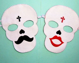 Halloween Wedding masks skull Him Her felt White Black mustache Red lips bride & groom Husband Wife party favors Day of the Dead photo props