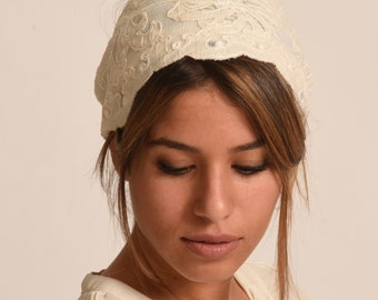 cotton ivory headband / lace beige hairband / organic turban / fancy hairband / chemo band made in Israel