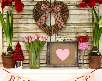 Grapevine Heart Wreath - Handmade Heart Decoration - Valentine Party Wreath - Valentine Decor