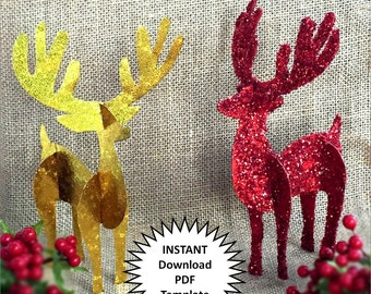 Reindeer Decor Christmas Decoration DIY Christmas Ornaments Reindeer Decor 3D Paper Decor DIY Holiday Craft Christmas Diy Reindeer Antlers