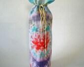 Wine gift bag, blue, purple, orange, white, multicolor, tie dye, ribbon tie,  tall gift bag, fitted gift bag, secret santa, hostess gift