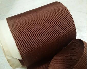 "3"" Sawtooth Edge Vintage French Petersham Ribbon Trim Rich Chestnut Brown Millinery, hatband"