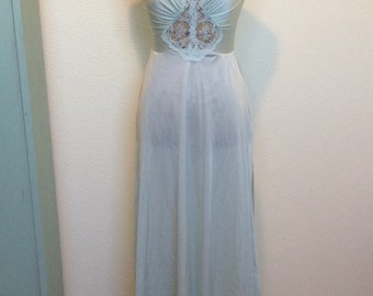 1970s Sheer Lace Front Night Gown Size Small
