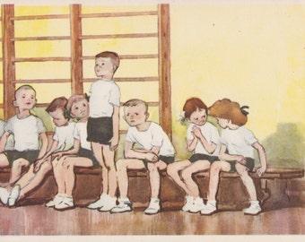 """L. Podlasskaya """"Gym Class"""" Postcard -- 1962"""
