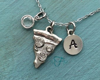 Pizza Charm Necklace, Personalized Necklace, Silver Pewter Pizza Charm, Custom Necklace, Swarovski Crystal birthstone, monogram