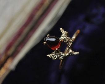 Red Garnet Ring, Giardinetti Ring, Antique Engagement Ring, Layering Ring, Flower Ring, Leaf Engagement Ring, Branch Ring, Stacking Ring.