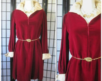 Vintage Velvet Dress Maroon Dark Ruby Red Metallic Gold Dress Holiday Party Evening 10 12 38 Bust 1970s 1980s