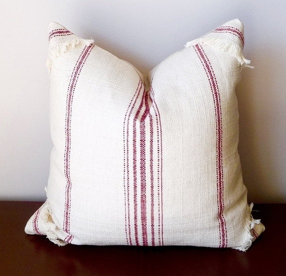 Throw Pillow In French : Red Stripe Throw Pillow Cottage Pillow French Loundry
