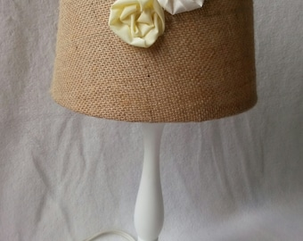 COUPON CODE!!! Burlap and Fabric Flowers Lamp Shade