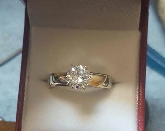14k  7mm White Sapphire Engagement Ring