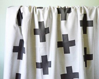 Crib Blanket White with Black Plus Sign- Crib Blanket - Baby Blanket - Black Baby Blanket - Plus Sign Blanket - Monochrome Baby Bedding