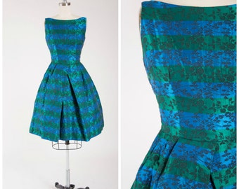 Vintage 1950s Dress • So Long Sam • Blue Green Striped Jacquard 50s Vintage Party Dress with Full Skirt Size Small
