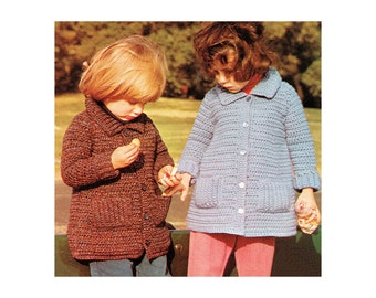 Instant Download PDF Crochet Pattern to make a Little Girls Toddlers Flared Short Coat Jacket 3 Sizes 20 to 24 inch Chest