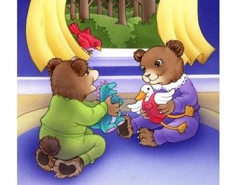 ORIGINAL WATERCOLOR PAINTING   Mark and Gert  original children's book art