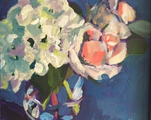 "Original Acrylic Painting by Kelly Rozwadowski, ""Hydrangea and Roses, Study No. 6"""
