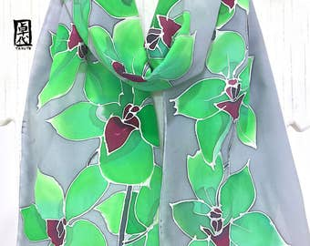 Handpainted silk scarf, ETSY, floral silk scarf, Ice Green Orchids Gray Scarf, Silk Scarves Takuyo, Japanese Scarf, 8x54 inches