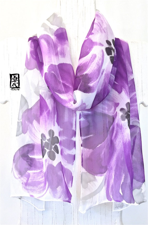 Silk Scarf Handpainted, ETSY, Floral Scarf, Amethyst Purple Primroses Scarf, Purple Silk Scarf, Silk Scarves Takuyo, 11x60 inches.