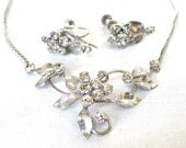 1950's Signed KREMENTZ Rhinestone Necklace, Earring Set, 14k white gold overlay, Excellent