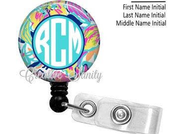 Retractable Monogram Badge Holder, Flowers In Watercolor, Choice of Badge Reel, Carabiner, Lanyard or Stethoscope ID Tag