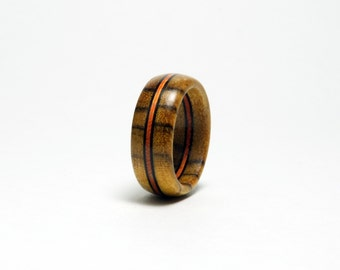 Bocote Wood Ring with Orange Wood Stripe