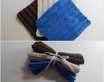 Dishcloth Gift Set – Crochet - Includes Gift Card – Brown White Blue