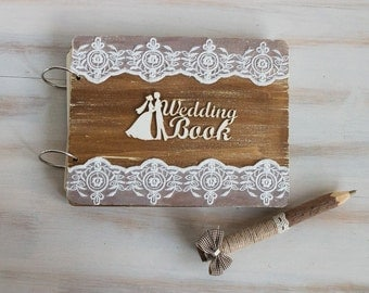 Wedding Guest Book Rustic Guest Book Advice Book Wood Wedding Guestbook Vow Book Anniversary   Unique Wedding Guestbook Gift for Couple