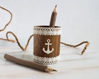 Nautical Guest Book Pen Holder, Rustic Wedding Pen Holder, Marine Wedding, Anchor Pen Holder