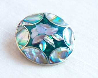 Mexican Brooch Pendant Pin Vintage Alpaca Abalone Boho Jewelry Green Rosette Gift Under 15