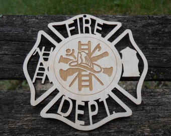 Fire Department Wood Ornament. Laser Cut. Christmas, Holiday Decoration, Gift. Mom, Dad. Fire Fighter Gift.