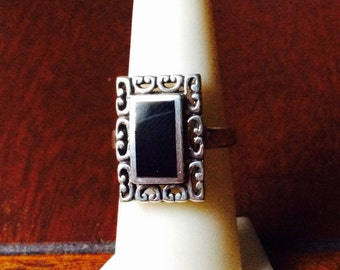 Vintage Sterling Silver Black Onyx Ring Retro Mid Century 1970s Jewelry