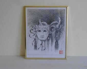 Vintage Mythical Fantasy Mask Drawing 1983