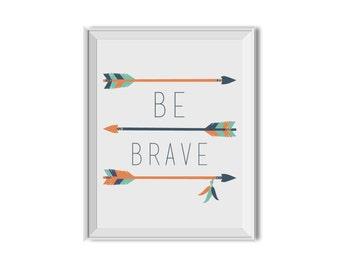 Be Brave, Tribal Nursery Decor, Tribal Arrows, Navy, Orange, Mint, Inspirational Print, Nursery Art, Children's Room Art, Tribal Art
