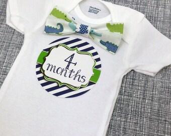Baby Bow Tie Onesie®, Baby Bowtie Onesie®, Monthly Onesie®, Monthly Baby Stickers, Baby Month Stickers, Boy, Woodland, Alligator, Green Navy