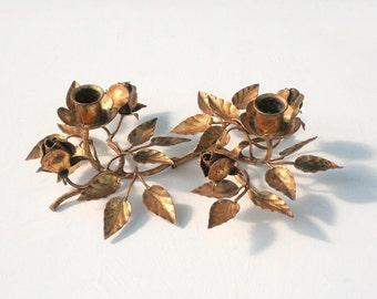 Italian gold tole painted candle holder, gold metal flowers