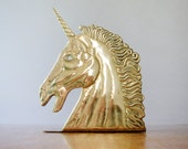 Single Vintage Bomel Collection Brass Unicorn Bookend