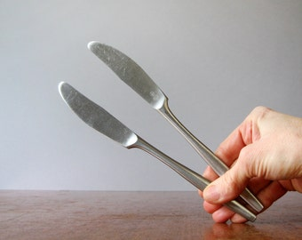 Two Mid Century Dansk Variation V Butter Knives - IHQ Denmark