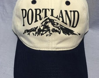 Cream/Navy Ball Cap, Portland, Mountain,  Wy'east, Hood, Baseball Hat