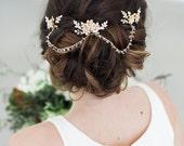 Gold Crystal Hair Chain, Bridal Hair Jewelry, crystal tiara,  Bridal Chain Headpiece, crystal wedding headpiece, bridal hair accessories